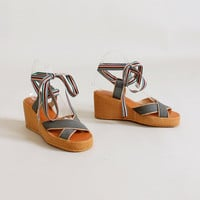 Vintage 1970s Rainbow Ribbon Ankle Tie Platform Sandals