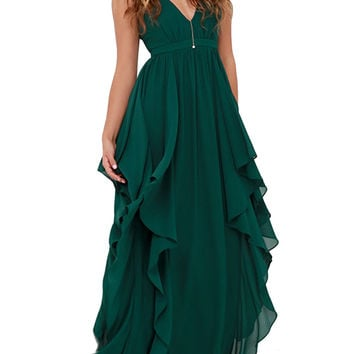 Deep V-Neck Flouncing Chiffon Party Dress in Hunter Green