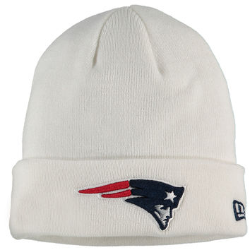 Men's New England Patriots New Era White Solid Cuffed Knit Hat