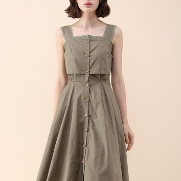 A Vigorous Day Cami Dress in Army Green