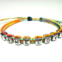 Same Love Bracelet, Rainbow Macrame Hemp Jewelry, LGBT - Ready to Ship