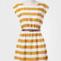 Semester Abroad Striped Dress In Goldenrod