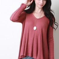 Waffle Knit V-Neck Long Sleeve Top