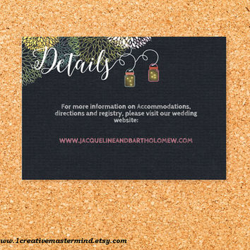 DIY Wedding Template Details card, Instant Download, Editable PDF, Printable, Digital, Chalkboard Mason Jar and Fireflies #1CM77-1