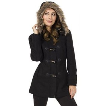 Alpine Swiss Duffy Women's Wool Coat Fur Trim Hooded Parka Jacket