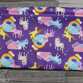 PLEASE READ to ORDER! Unicorn Rainbow Purple Background One Size Pocket Diaper or Diaper Cover