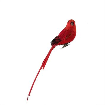 """10"""" Red Long Tailed Clip-On Bird with Glitter Accent Christmas Ornament"""