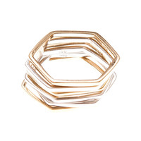 By Boe: Stackable Hexagon Ring -  Gold Plated