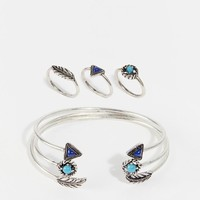 New Look   New Look Open Cuff And Ring Multipack at ASOS