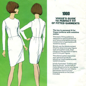 1960s Women's VOGUE Basic Sheath DRESS Sloper Fitting Shell Pattern Vogue 1000 Guide to Perfect Fit UNCUT Vintage Sewing Patterns Bust 36