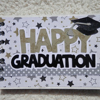 4x6 Chipboard Graduation Mini Scrapbook Album Gold Silver Black