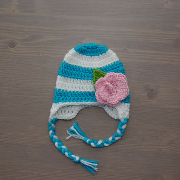 Light Blue and White Striped Crochet Baby Hat with Flower, Crocheted Baby Hat, Crochet Baby Girl Hat, Shower Gift, Newborn Photography Prop