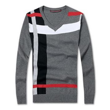 New 2016 Autumn and Winter Men slim fit v-neck knit striped sweaters/Men's quality joker pure color knitting a sweater