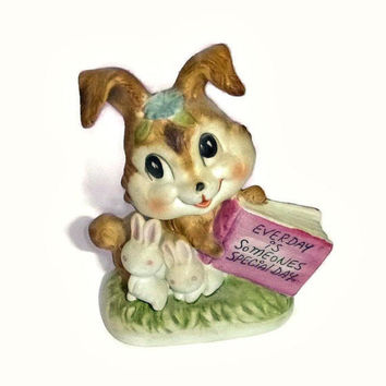 Vintage Bunny Figurine Ceramic Rabbit Statue Porcelain Easter Bunny Someone Special Gift Easter Bunny Bun Bun Kitsch Collectible Knick Knack
