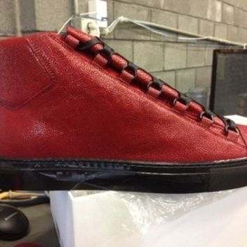 BALENCIAGA ARENA HIGH STINGRAY SNEAKER RED BLACK ROUGE CERISE E44 BRAND NEW