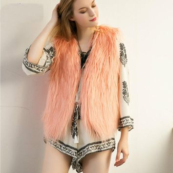 7 Colors Women  Special Slim Long Fuax Fur Vest Coat  Feminino Gilet Fourrure Rabbit Fur Colete Long Coat Outwear B3