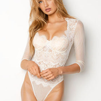 Floral Lace & Stripe Teddy - Dream Angels - Victoria's Secret