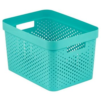 Room Essentials™ Resin Weave Rectangular Storage Bin - Turquoise