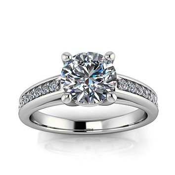 Moissanite and Diamond Engagement Ring - Boris