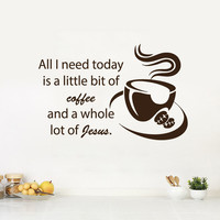 Wall Decals Quote Coffee Jesus Kitchen Decal Cafe Vinyl Sticker Home Decor KG15