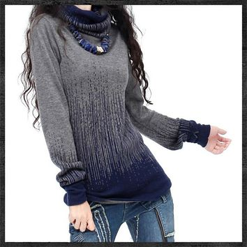 Women's Gradient Black Blue Vintage Cashmere Sweater Women Turtleneck Thick Sweaters And Pullovers Female Warm Jumpers