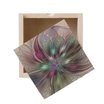 Colorful Fantasy, abstract and modern Fractal Art Wooden Keepsake Box