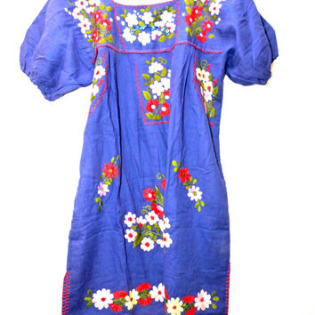 Mexican dress, Embroidered dress, Boho dress, Blue traditional mexican dress, Mexican peasant dress, Cute mexican embroidered dresses