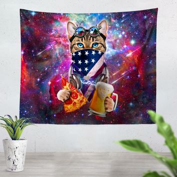 USA Rave Cat Tapestry