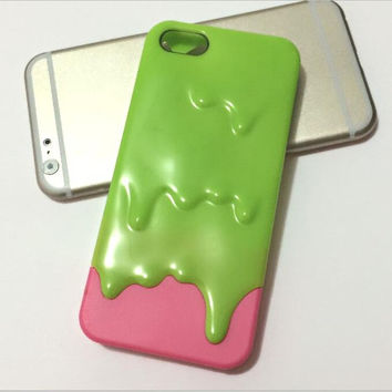 5/5S SE '' Hot!! Cute 3D Melt Ice Cream Back Cover Skin Cases For iPhone 5 5S Case For IPhone5S/5 Protection Phone Shell Top!!-04410