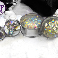 "In the Bath Iridescent Plug / Gauge Clear Rainbow Bubble Bath Wedding / Prom ONE Plug Only 3/4"", 7/8"", 1"" / 19mm, 20mm, 22mm, 24mm, 25mm"