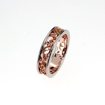 Rose and white gold filigree ring, two tone engagement ring, filigree wedding band, unique, anniversary ring, rose gold band, unique ring