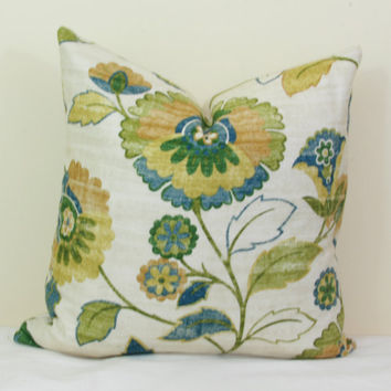 Teal green gold floral pillow cover 18x18 20x20 22x22 24x24 26x26 Euro sham floral lumbar pillow 12x20 13x20 12x24 14x24 14x26 16x24 16x26