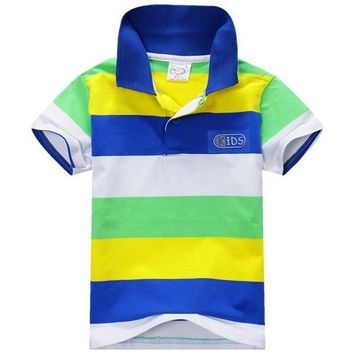 1~7 years baby children boys striped t-shirtss kids tops tee polo shirts clothing JFY6
