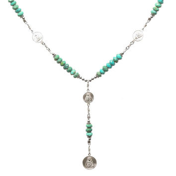 Sterling Silver 7 Sorrows Rosary 6mm Turquoise Necklace with 7 Sorrows Medal Set