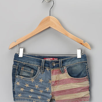 Light Wash American Flag Shorts - Girls