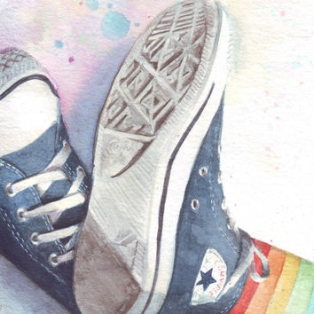 HM073 Original watercolor painting of Converse All Stars with rainbow socks art by Helga McLeod