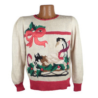 Ugly Christmas Sweater Vintage 1980s Goose Tacky Holiday