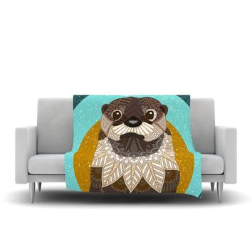 "Art Love Passion ""Otter in Water"" Blue Brown Fleece Throw Blanket - Outlet Item"