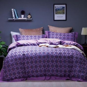 New Purple brown color plaid cotton jacquard luxury bedding sets queen king size bed sheet/linen set,bed set duvet cover pillow