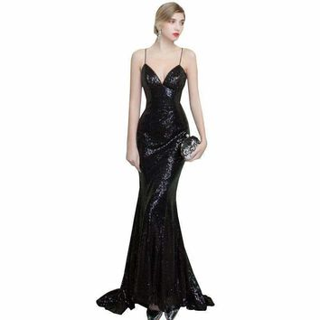 Summer V Neck Sexy Long Party Dress Black Fish Tail Sequins Gorgeous Dresses Party Slim Female Dew Back Dress Wz458