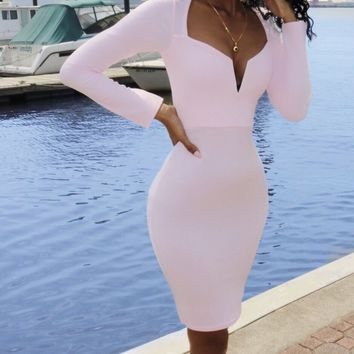 Silhouette Midi Dress in Baby Pink
