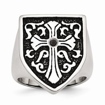 Men's Stainless Steel Cross with Black Diamond Antiqued Shield Ring
