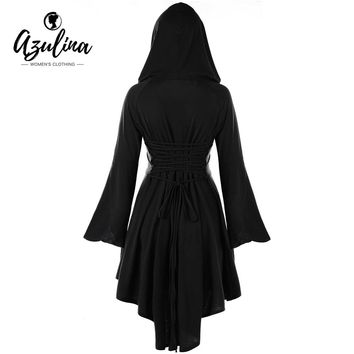 AZULINA Women Hoodie Dress Vestidos Mujer 5 Color Hooded Lace-Up Flare Sleeve High Low Dresses New Year Casual Dress Robe Female