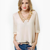 Life and Shines Cream Sequin Top