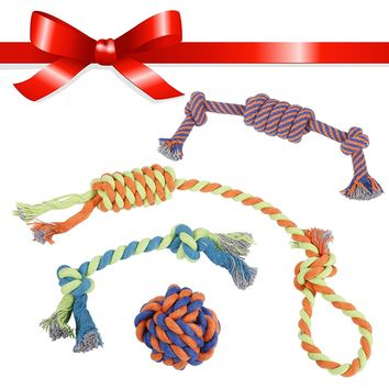 Set of 4 Dog Ball Rope Tug and Fetch Toys