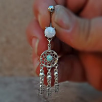 Dream Catcher Fire Opal Belly Ring Fits In Navel and Feather 14ga Surgical Stainless Steel