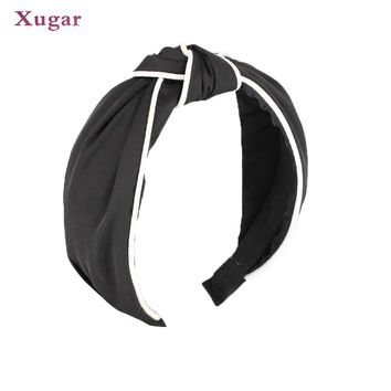 Patchwork Cross Headband Wide Female Turban Elastic Hairband Simple Girl Hair Hoop Hair Accessories For Women Bandana Headdress
