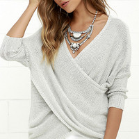 In View Light Grey Sweater Top