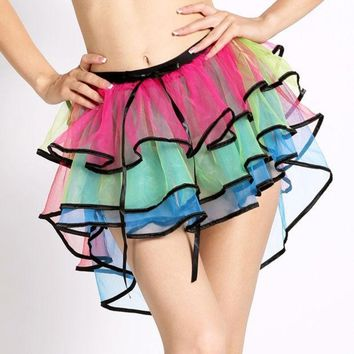 PEAPUG3 Hot Adult Women Tutu Tulle Skirt Petticoat Dance Rave Neon Party Halloween Skirt 7_S (Size: M) = 1905840324