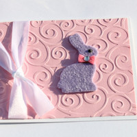 Easter Bunny Card Pink and Purple by RoyalRegards on Etsy